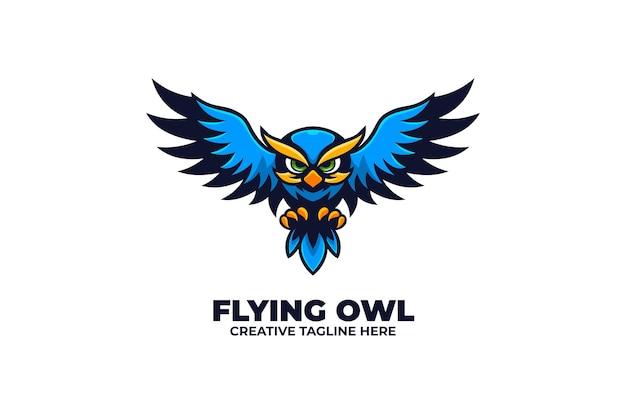 Flying blue owl animal bird-logo