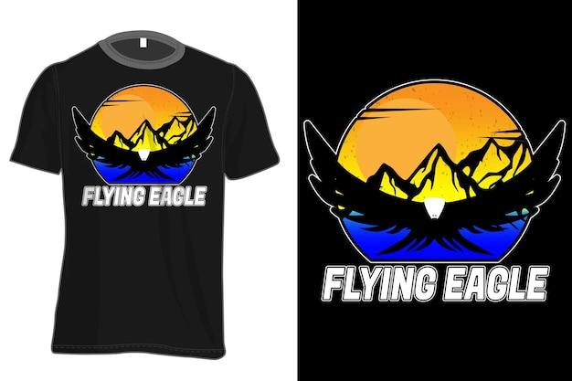 Flying eagle mock-up t-shirt retro vintage stijl