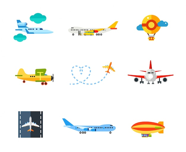 Flying icon set