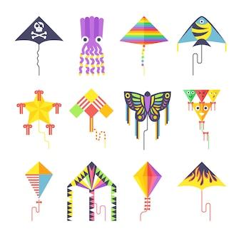 Flying kite vector collectie geïsoleerd Premium Vector