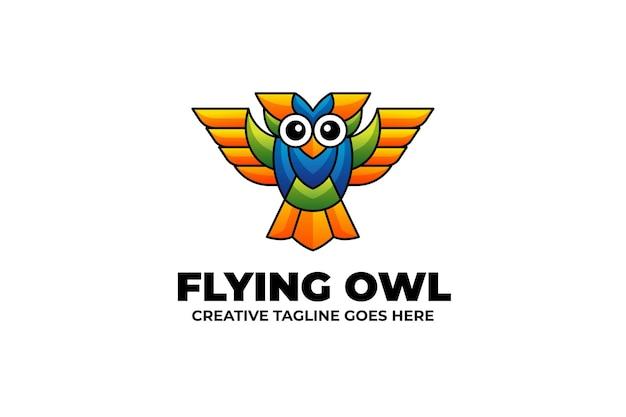 Flying owl mascot-logo in aquarelstijl