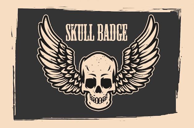 Flying skull-badge voor t-shirtprint