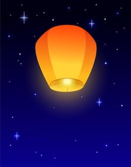 Flying sky lantaarn verticale banner achtergrond diwali festival mid autumn festival wenskaart