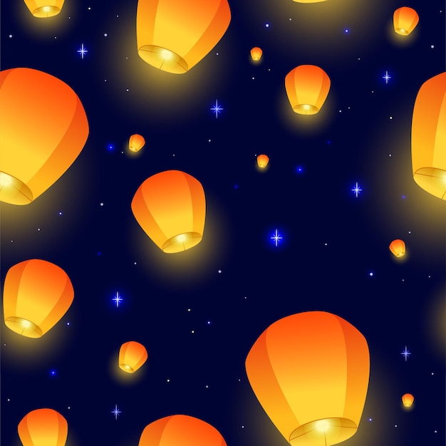 Flying sky-lantaarns naadloos patroon diwali-festival mid autumn festival of chinees feestelijk