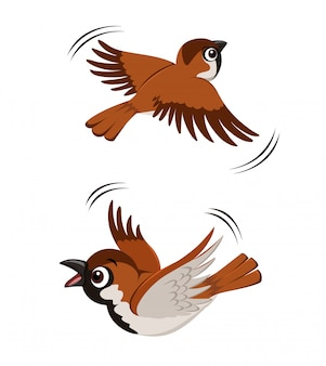 Flying sparrow illustratie