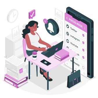 Focus modus concept illustratie