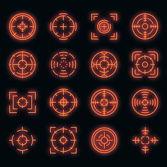 Focus pictogrammen instellen. overzicht set focus vector iconen neon kleur op zwart