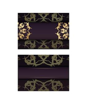 Folder in bordeauxrode kleur met abstract gouden ornament is voorbereid om af te drukken.
