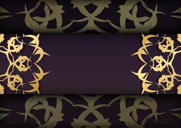 Folder in bordeauxrode kleur met abstract gouden ornament voor uw ontwerp.