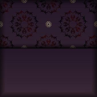 Folder in bordeauxrode kleur met een mandala in een goudpatroon is voorbereid om te worden afgedrukt.