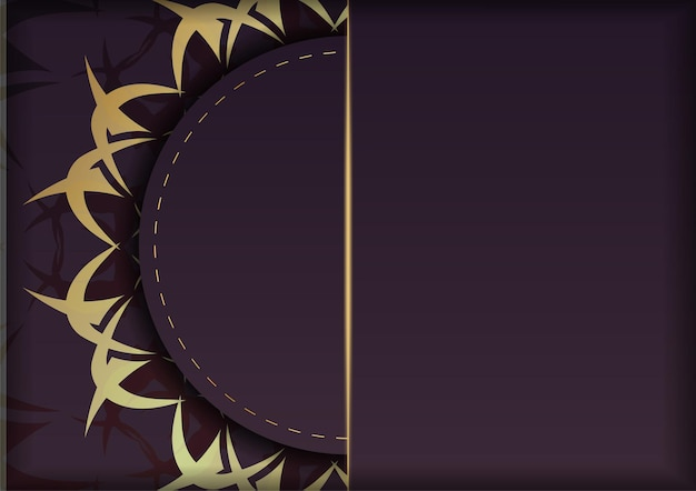 Folder in bordeauxrode kleur met grieks goudpatroon is klaar om gedrukt te worden.