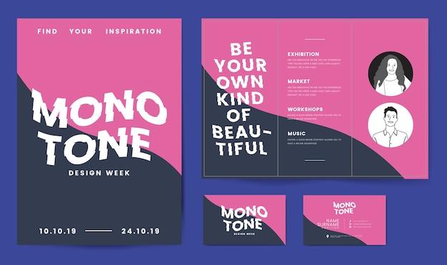 Folder, posters en sjabloon voor visitekaartjes