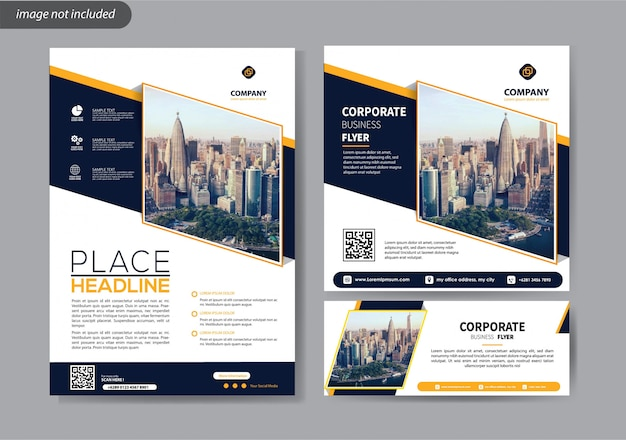 Folder sjabloon voor cover jaarverslag bedrijfs- en sociale media promotie