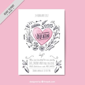 Folder van de hand getekende hart en bloemen elementen