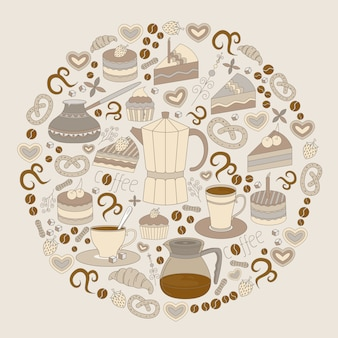 Folder van moderne platte ontwerp coffeeshop, café en bakkerij pictogrammen.