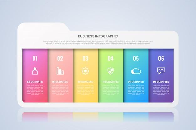 Folder zakelijke infographic sjabloon met zes stappen multicolor lael
