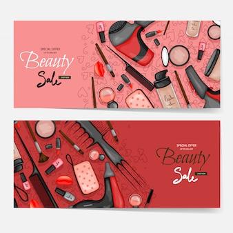 Folders met cosmetische producten, sjabloon voor tekst. cartoon stijl.