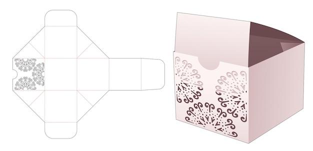 Foldimg cup cake box met gestencilde mandala gestanste sjabloon