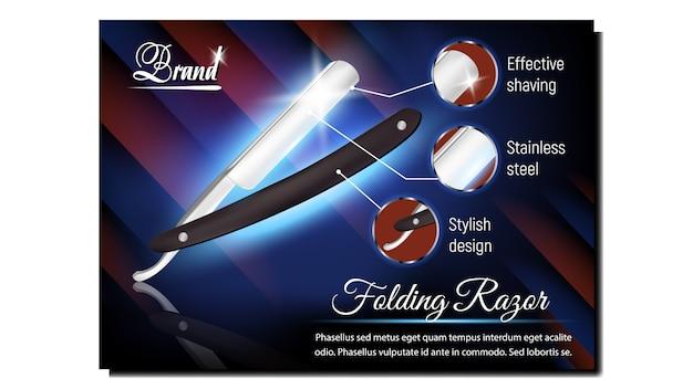 Folding razor barber tool adverteren