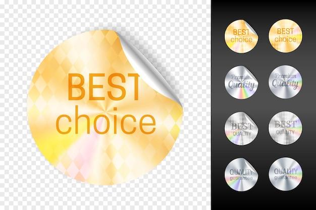 Folie stickers. retail goud en wit zilver sticker set, beste keuze en kwaliteit garantie glanzende stickers geïsoleerd op transparante achtergrond vectorillustratie