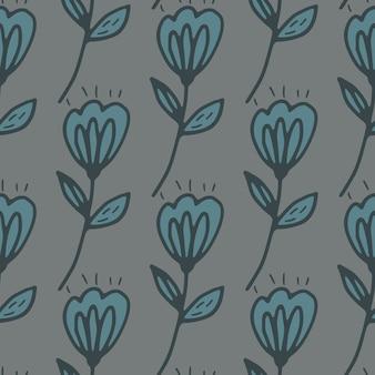 Folk blauw bloemen naadloos patroon met grijze achtergrond.
