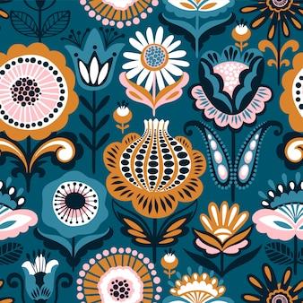 Folk bloemen naadloos patroon