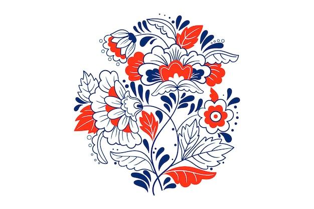 Folk bloemen sieraad. vectorontwerp in marineblauw. traditioneel schattig ornament
