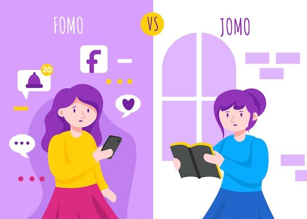 Fomo-syndroom en jomo-conceptillustratie