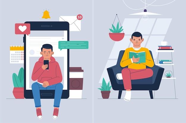 Fomo vs jomo illustratie concept