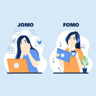 Fomo vs jomo illustratie
