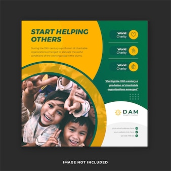 Fondsenwerving en liefdadigheid sociale media plaatsen premium vector