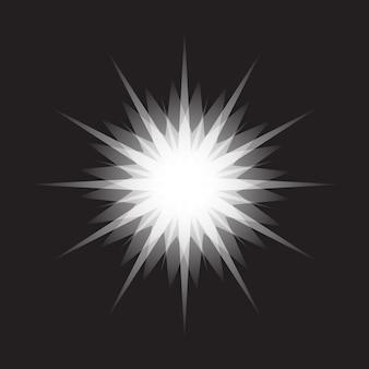 Fonkelende ster schijnt starburst vormpictogram geïsoleerd op zwarte achtergrond voor feestelijke decoratie