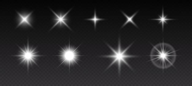 Fonkelende sterren, flikkerende en knipperende lichten. verzameling van verschillende lichteffecten op zwarte achtergrond. realistische vectorillustratie