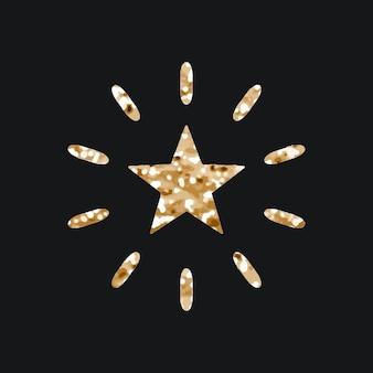 Fonkelende sterren vector pictogram met glitter textuur op zwarte achtergrond