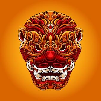 Foo dog chinese mask-illustratie