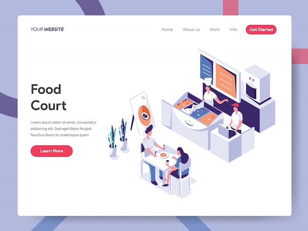 Food court-bannerconcept voor websitepagina