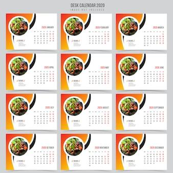 Food desk kalender 2020-sjabloon