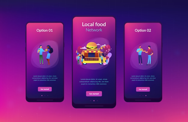 Food festival app interface sjabloon.