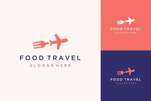 Food travel design logo of vork met een vliegtuig