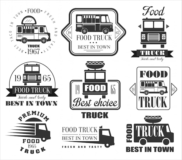 Food truck emblemen, pictogrammen en badges.