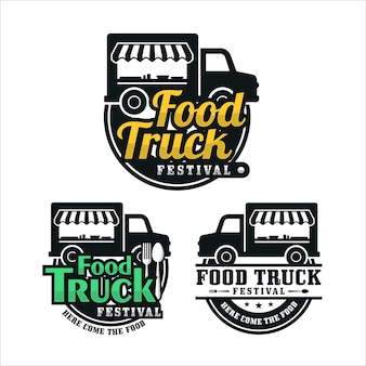 Food truck festival ontwerp logo collectie
