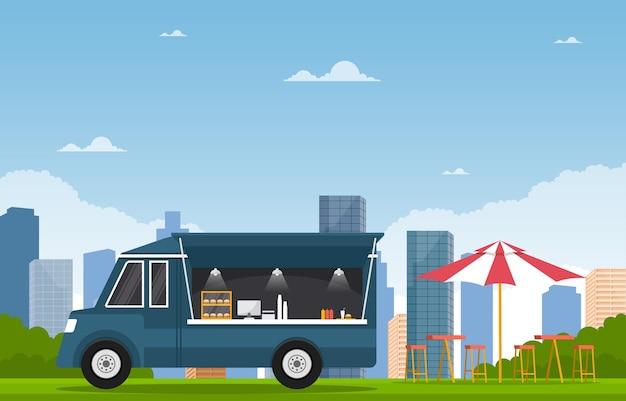Food truck van car vehicle street shop city illustration