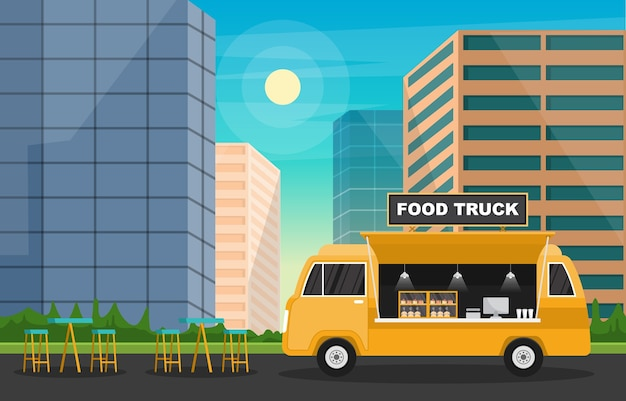 Food truck van car vehicle street shop city illustration