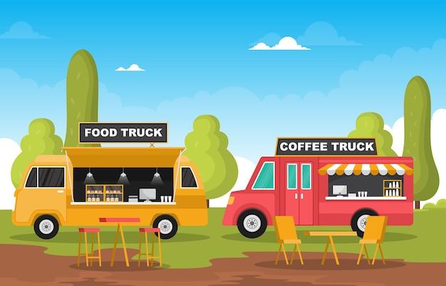 Food truck van car vehicle street shop park illustration