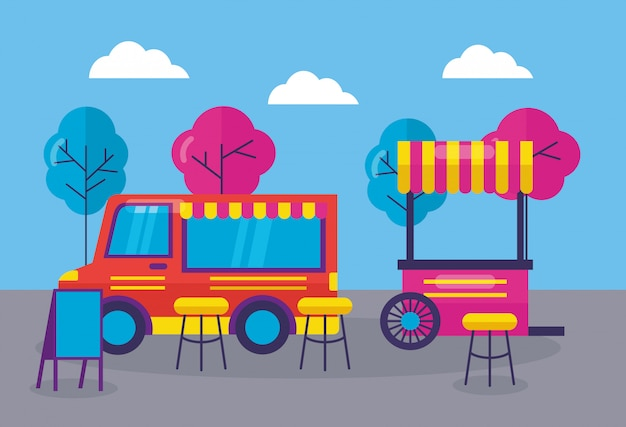 Food trucks festival plat ontwerp