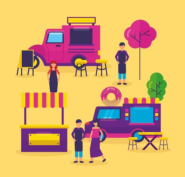 Food trucks festival plat ontwerp