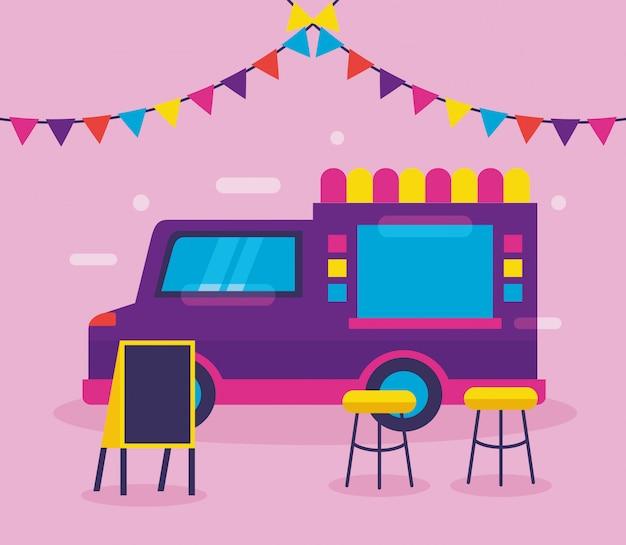Food trucks in vlakke stijl
