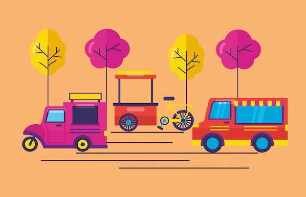 Food trucks in vlakke stijl