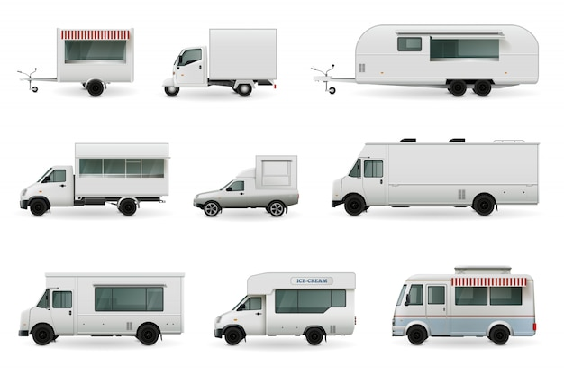 Food trucks realistische set