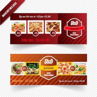 Food web banner design Premium Vector